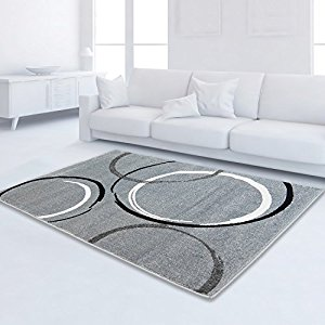 Moderno Moda Öko-Tex Circle carpet Grigio Nero -